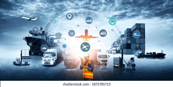 Vertrieb von Logistiknetzen auf Industriegüterflugzeugen für schnelle Lieferung oder Online-Bestellung. Das Konzept des modernen Lebens, des Geschäfts, des Stadtlebens und des Internets der Dinge