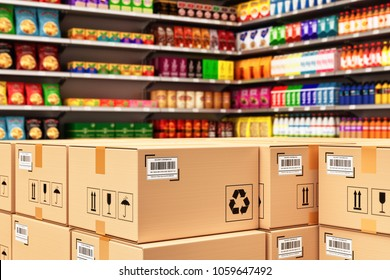 Distribution warehouse logistics, packaged parcels ready for shipment and delivery, stack of cardboard boxes in a retail store on the background of shelves with goods, 3d illustration