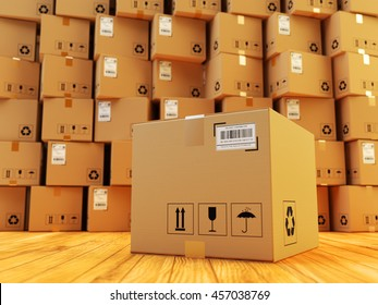 Distribution warehouse, package shipment, freight transportation and delivery concept, cardboard box and stack of parcels behind it on wooden floor in the retail store building, 3d illustration