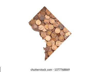 District of Columbia, Washington D.C. State Map and Money Concept, Piles of Coins, Pennies