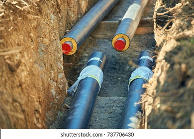 District heating - connecting insulated pipes District heating is a system for distributing heat generated in a centralized location for residential and commercial heating requirements .