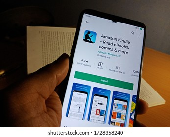 District Katni, madhya pradesh, India - May 04, 2020: Amazon kindle read ebooks comics and more apps presented on digital screen at isolated device.