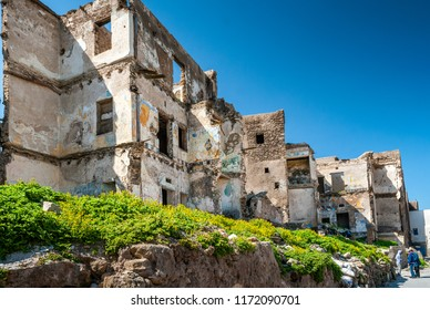 In the district of Mellah in Essaouira, Morocco. Old buildings are in ruins