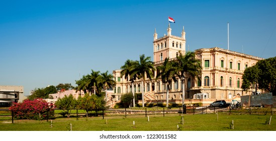 Asunción/Capital District/Paraguay - 07.15.18: Presidential Palace in Asuncion, Paraguay. It serves as a workplace for the President and the government of Paraguay.