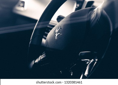 Brasília, Distrito Federal - Brasil. Feb. 22, 2019. Photograph of a steering wheel inside a Peugeot 208 1.6 Aut. Griffe 2014
