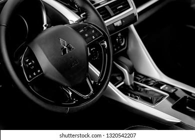 Brasília, Distrito Federal - Brazil. Feb. 22, 2019. Photograph of a steering wheel inside a Mitsubishi Eclipse Cross 2019.