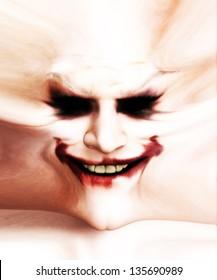 Disturbing clown face.