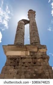 Distyle of Zalamea de la Serena, impresive roman funerary remains, Spain. Backlit shot
