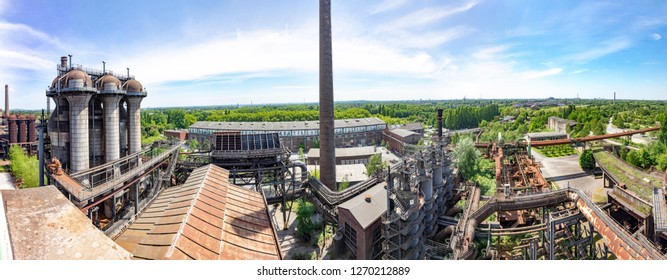 Disused blast furnace plant in Duisburg, Ruhr area district industry ruins
