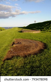 Disused gun emplacement on Windmill Bastion, Berwick town walls, Berwick-upon-Tweed, Northumberland, UK.