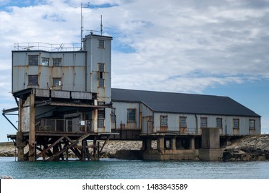 Disused Torpedo testing building in portland harbour, England