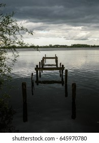 Disused wooden pier in Lough Neagh, Northern Ireland