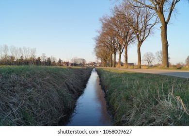 Ditch perspective dutch water trees