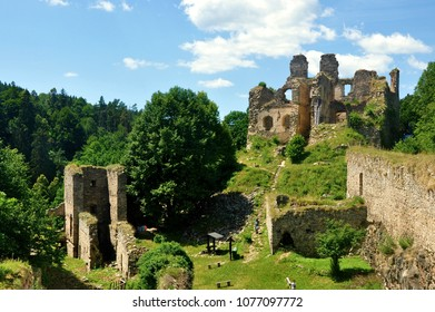 Divci kamen, Czech republic - July 26, 2015: View of Divci kamen Girls rock ruin, ruin of castle in south bohemia near Cesky Krumlov