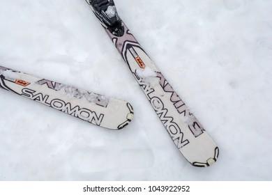 DIVCIBARE, SERBIA - MARCH 6, 2017: Two ski Salomon brand on Divcibare mountain snow covered with snow, Serbia