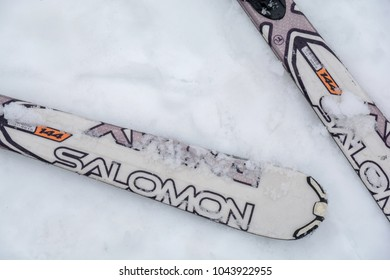 DIVCIBARE, SERBIA - MARCH 6, 2017: Two Salomon brand ski on Divcibare mountain snow covered with snow, Serbia