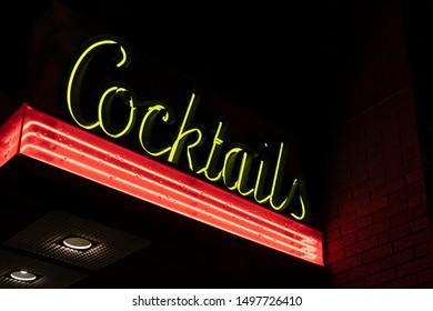 Dive Bar Neon Cocktails Sign