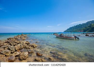 Dive boat at Air Batang (ABC) beach, (Pulau) Tioman Island, Malaysia