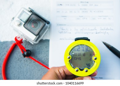 Dive computer watch for diving and action camera, equipment