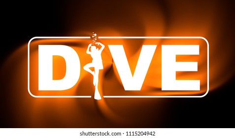 Dive word with silhouette of diver. The concept of sport diving. 3D rendering