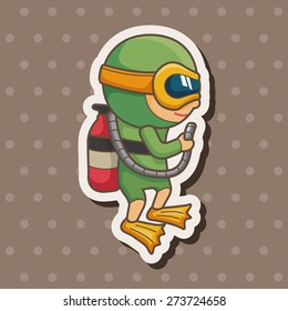 diver , cartoon sticker icon