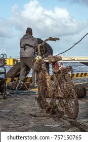 A diver found a bicycle on the bottom of a harbor. It is heavily covered with algae, shells and hung with seaweed.