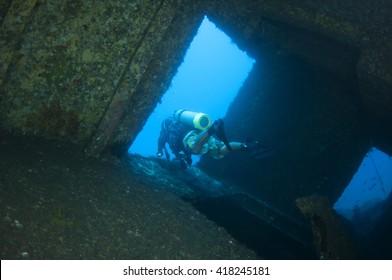 Diver and Marine shipwreck