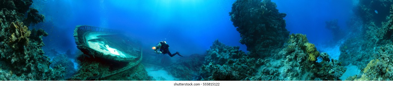 Diver near the wreck, Red Sea, Egypt