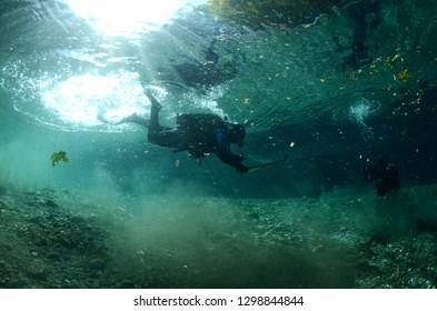 Diver in river
