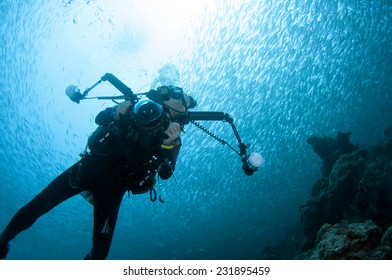 Diver and school of scad fish in Dimakya island, Palawan.