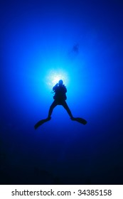 Diver silhouetted against sun