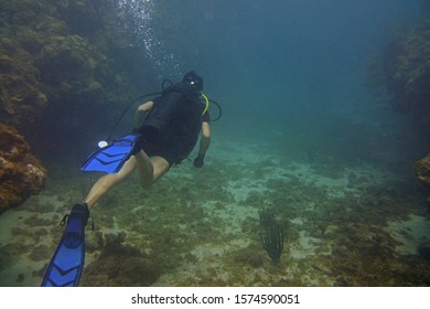 Diver swimming through underwater canyon