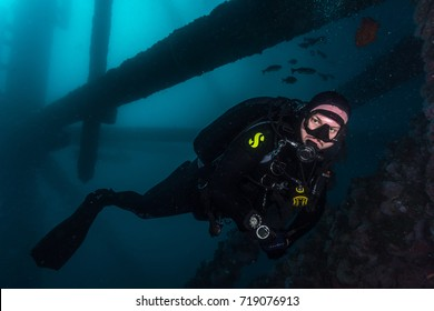 Diver under Eureka oil rig at Long Beach California. Photo taken September 8, 2017