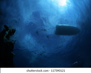 Divers Ascend to the Surface
