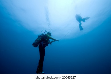 Divers ascending on an anchor line from the deep