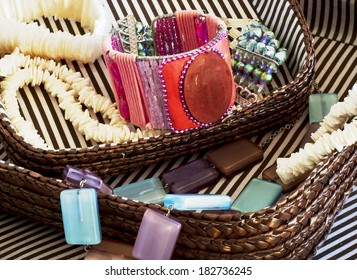 Divers costume jewelry in basket