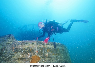 Divers and Marine shipwreck underwater with sea fish