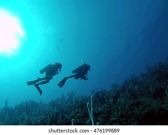 Divers in silhouette on the reef off the coast of Utila, Honduras