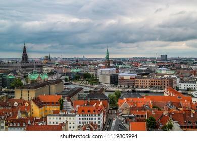 The diverse arquitecture in Copenhagen in Denmark