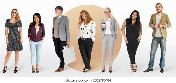 Diverse business people characters set