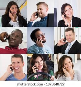 Diversas Personas De Negocios Hablando En El Collage De Retratos De Teléfono Inteligente