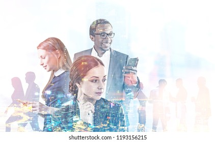 Diverse business team managers with gadgets over blurred cityscape. Graphs and immersive interface foreground. Hi tech and fintech concept. Toned image double exposure mock up