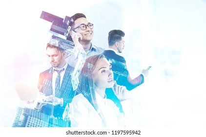 Diverse business team managers with gadgets over white background. Cityscape foreground. Team building concept. Toned image double exposure mock up