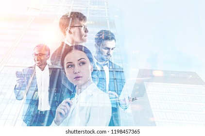 Diverse business team members with gadgets in morning city. Business lifestyle concept. Toned image mock up double exposure