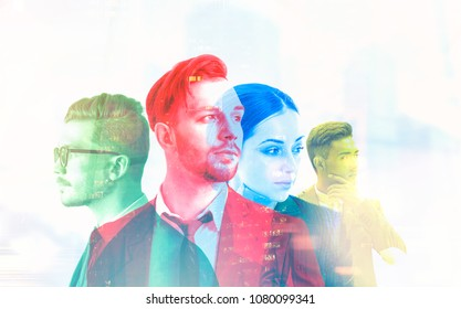 Diverse business team members portraits against a blurred cityscape. Teamwork concept. Toned image double exposure mock up