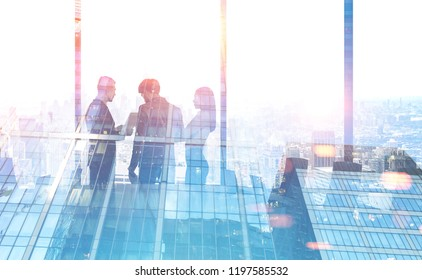 Diverse business team members with talking in conference room in morning city. Business lifestyle concept. Toned image mock up double exposure