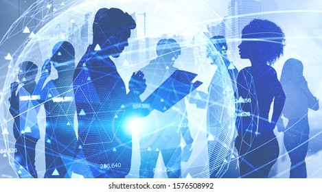 Diverse business team working together in city with double exposure of blurry futuristic network interface. Concept of hi tech startup and big data. Toned image