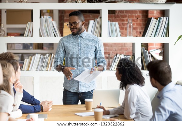 Diverse Businesspeople Gathered Together Seminar Discussing Stock Photo Edit Now 1320322862
