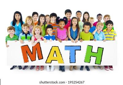 Diverse Cheerful Children Holding the Word Math