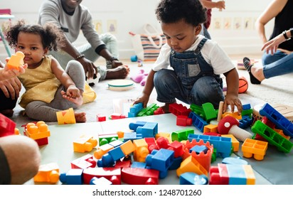 Diverse children enjoying playing with toys